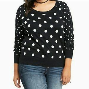 Torrid Black & White Polka Dot Sweater Size 2
